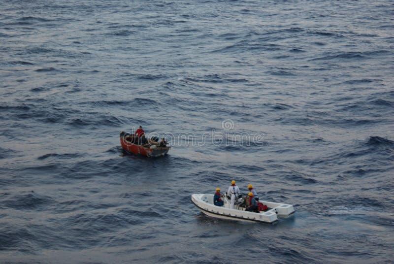 Cubaanse Vluchtelingen die worden gered stock fotografie