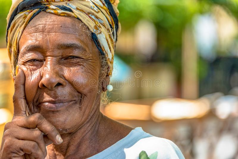Portrait of Afro Caribbean woman in Old Havana, Cuba-16 February royalty free stock photos