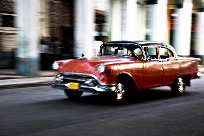 Cuban car running royalty free stock photography