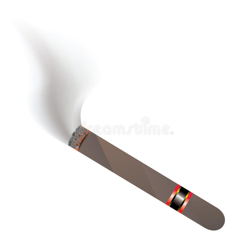 Cuban cigar. Lit with smoke isolated on white background stock illustration