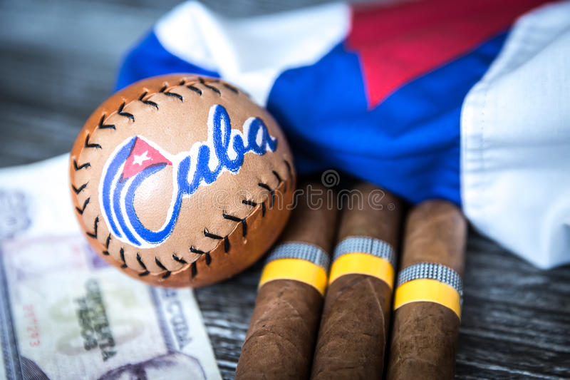 Cuban concept table of some related items.  royalty free stock photography