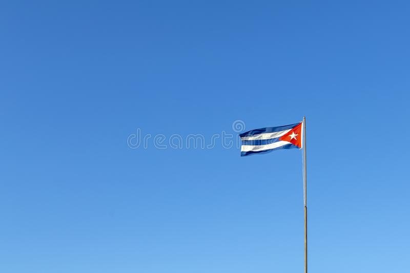 The cuban flag in the sky stock image