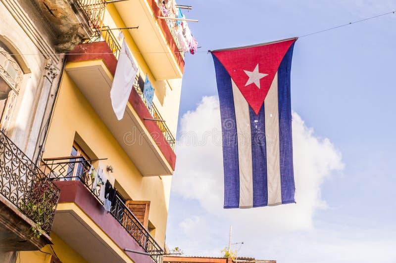 Cuban flag in Havana stock image