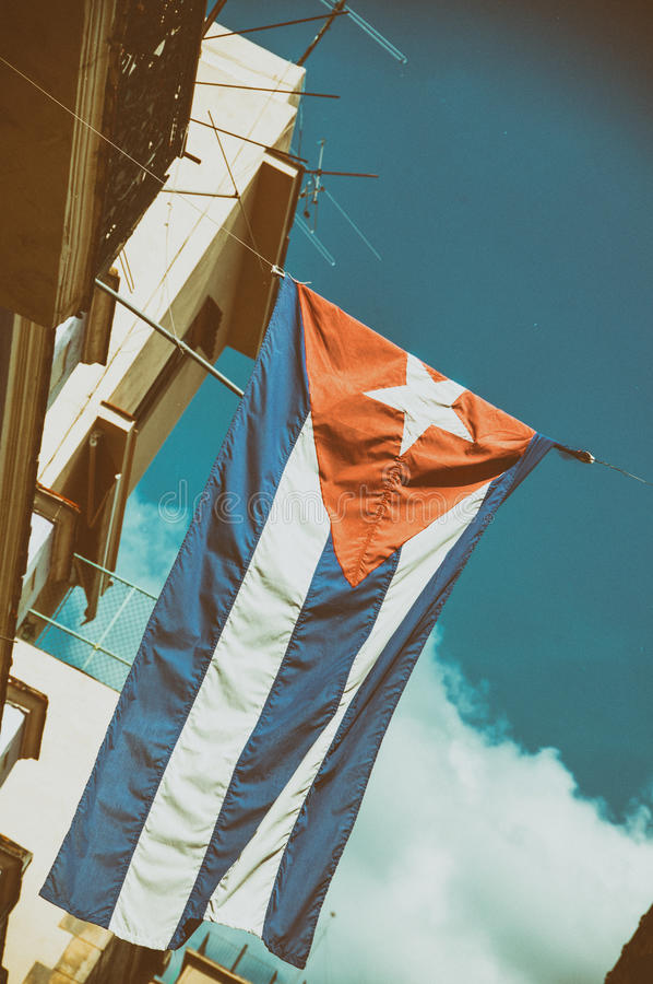 Cuban flag in old Havana building royalty free stock image
