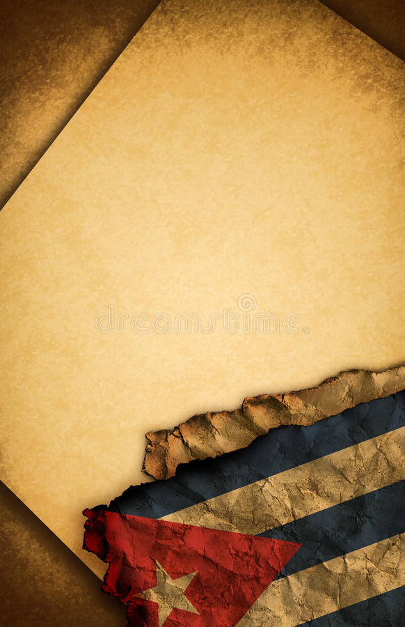 Cuban flag and old paper vector illustration