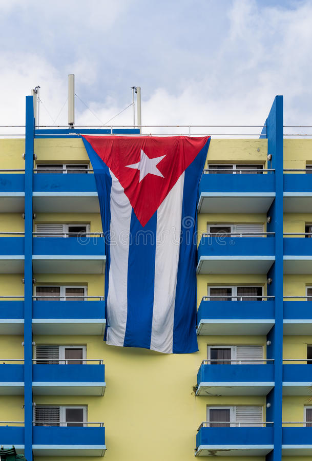 Cuban flag over hotel balconies royalty free stock image