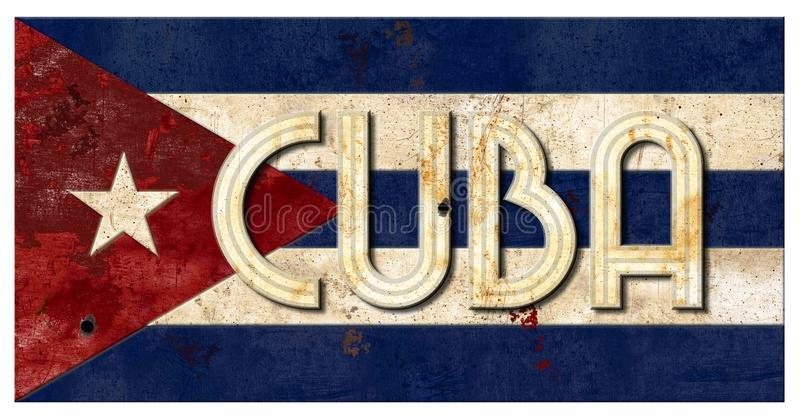Cuban Flag Grunge Cuba Lettering Metal Old Rustic Vingage royalty free stock photos