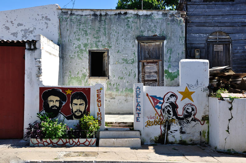 Cuban house and graffiti in Cienfuegos stock images