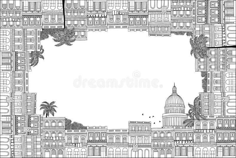 Cuban houses text frame royalty free illustration