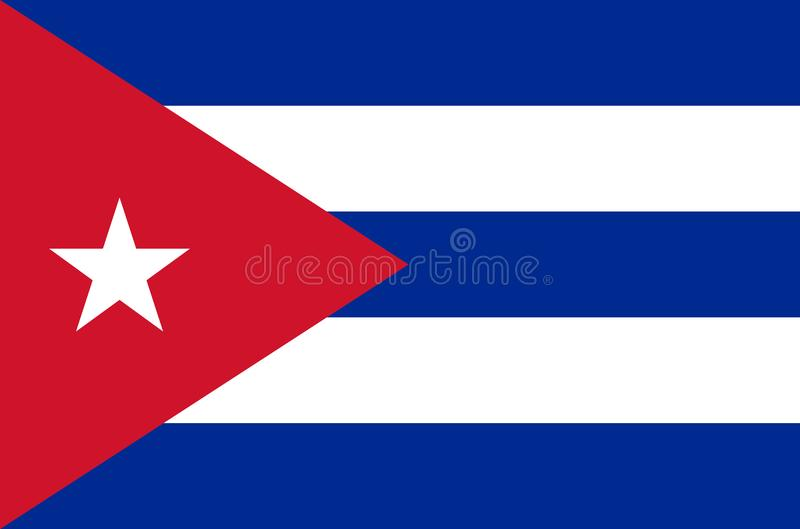 Cuban national flag in accurate colors, official flag of cuba in exact colors. Real colors stock illustration
