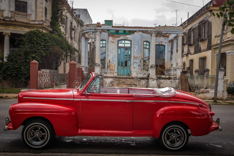 Cuban red retro taxi stock photography