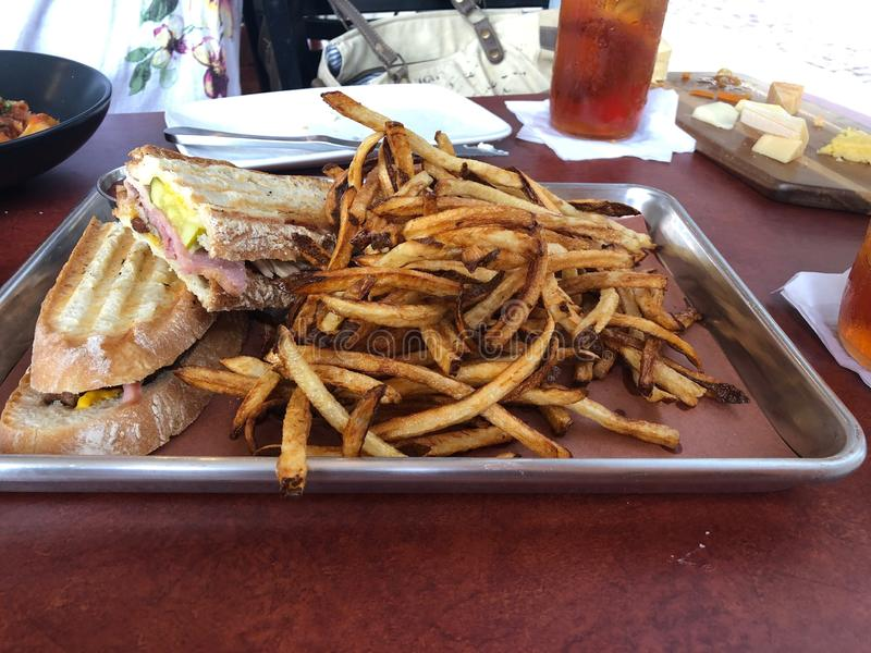 Cuban Sandwich with Fresh cut French Fries stock photography