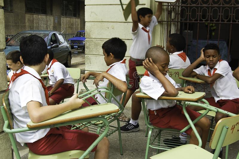 Cuban students in recreation near the city of Havana stock images