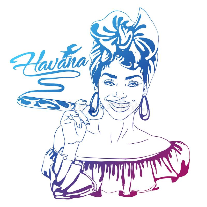 Cuban woman face. cartoon vector illustration for music poster. Cuba girl with floral decor and cigar. Caribbean ethnic caricature grotesque poster stock illustration