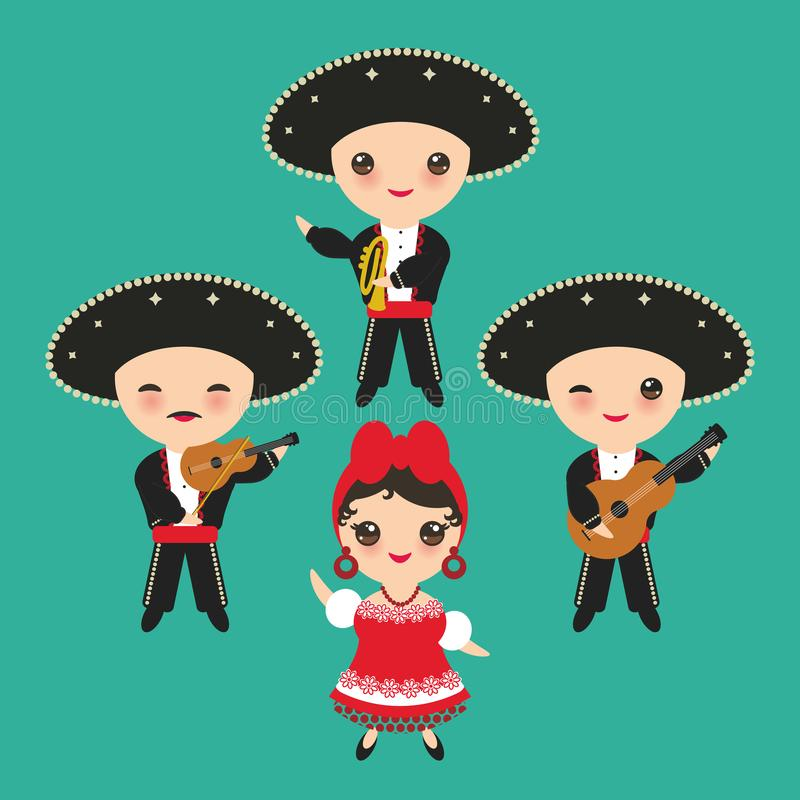 Cubanos muchacho y muchacha en traje y sombrero nacionales Los niños de la historieta en Cuba tradicional se visten, Mariachi agr stock de ilustración