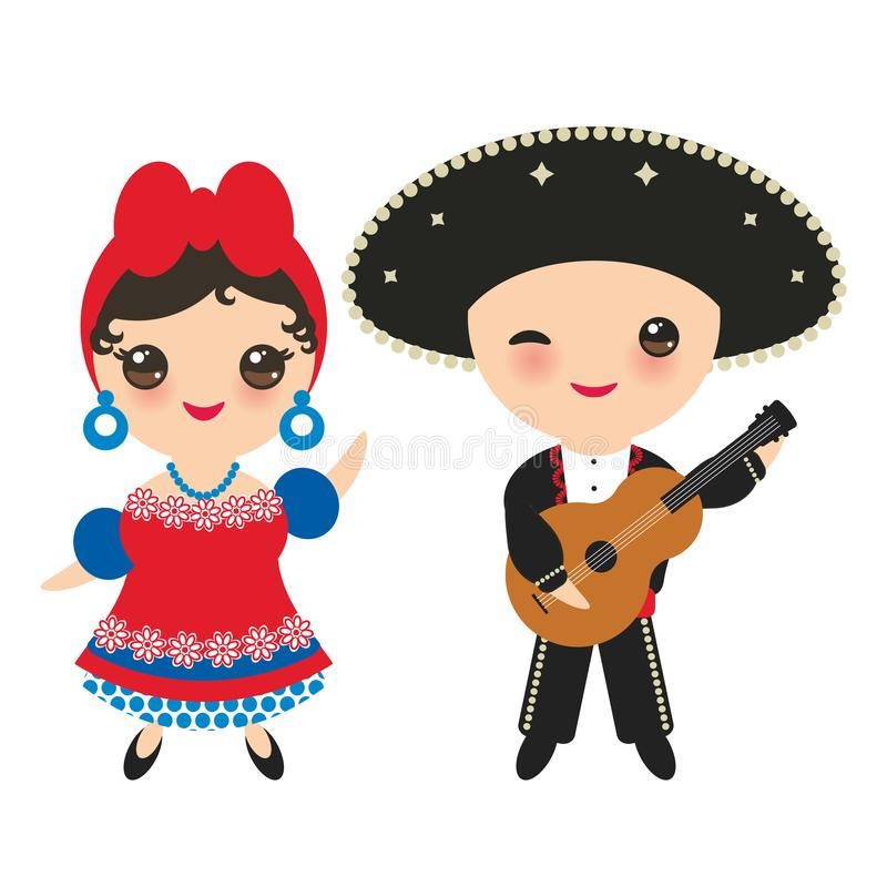 Cubans boy and girl in national costume and hat. Cartoon children in traditional Cuba dress, guitar. Isolated on white background. royalty free illustration