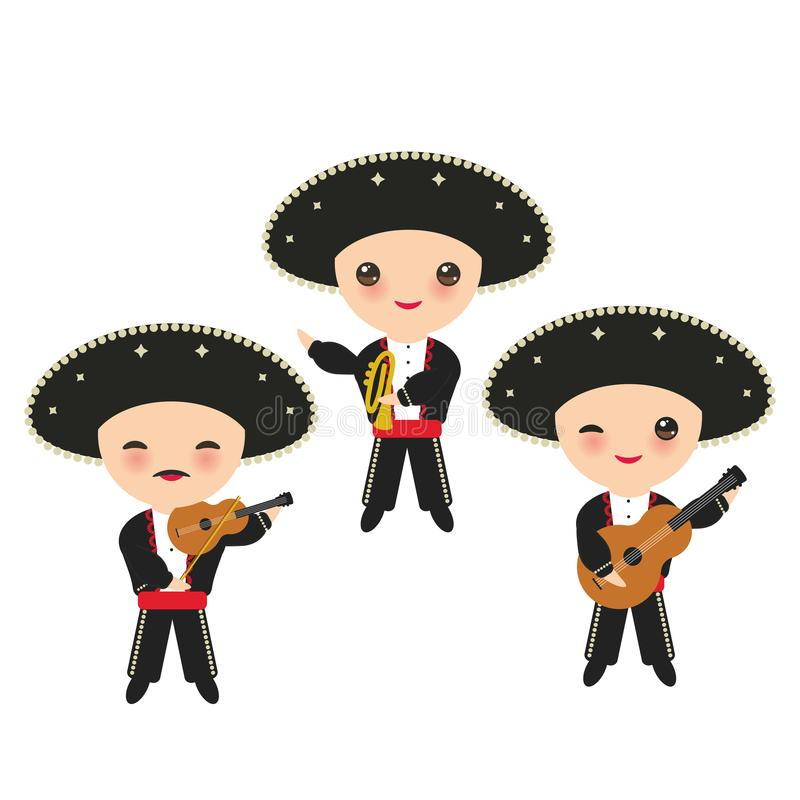 Cubans boy in national costume and hat. Cartoon children in traditional Cuba dress, Mariachi group Musical instruments guitar, vio. La, violin, trumpet. Isolated royalty free illustration
