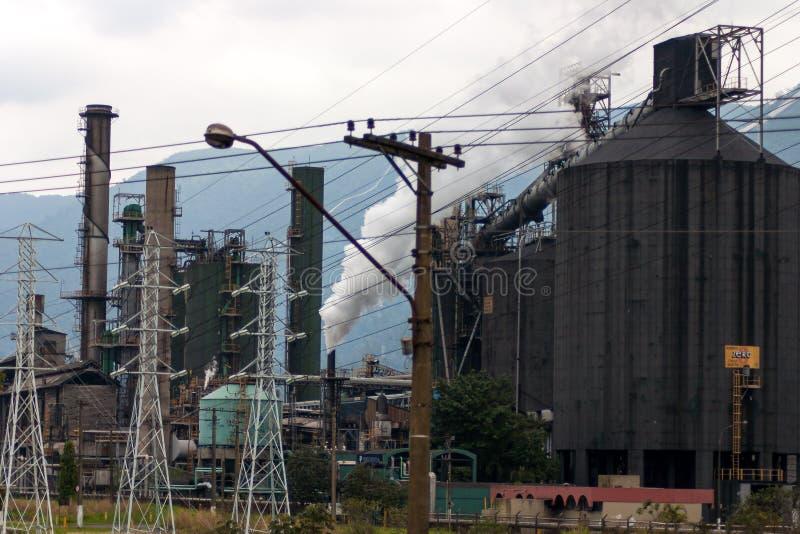 Cubatão,巴西工业城市  库存图片