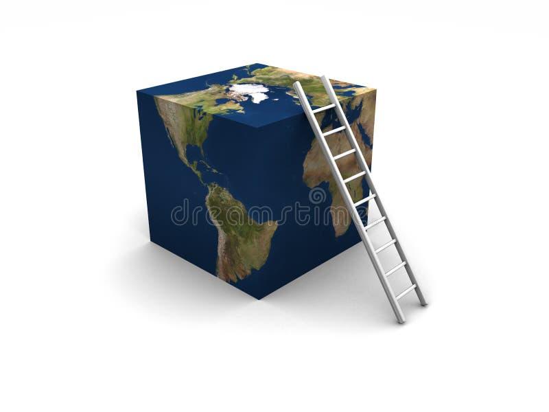 Cube + échelle en terre illustration libre de droits