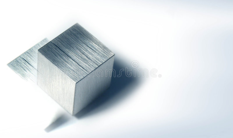 Cube 1 en métal image libre de droits