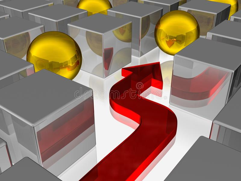 Download Cube stock illustration. Image of deconstruction, metall - 12060566