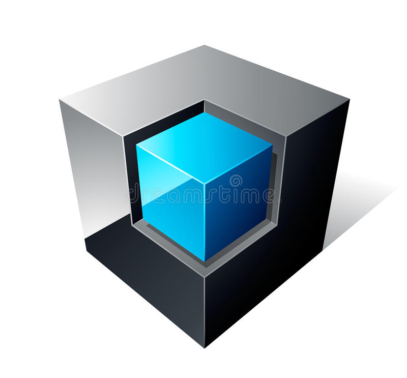 Cube 3d Design. Isolated on white royalty free illustration