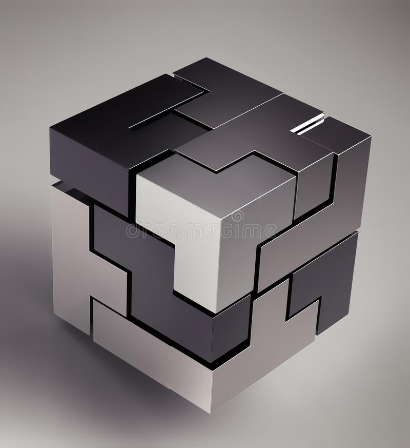 cube 3d futuriste noir illustration de vecteur