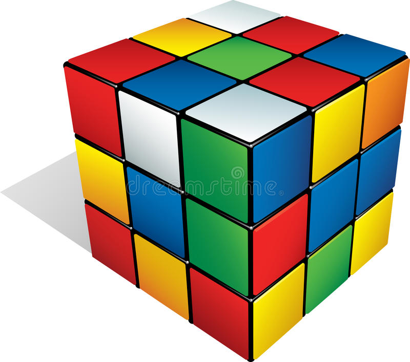 cube 3d multicolore image libre de droits
