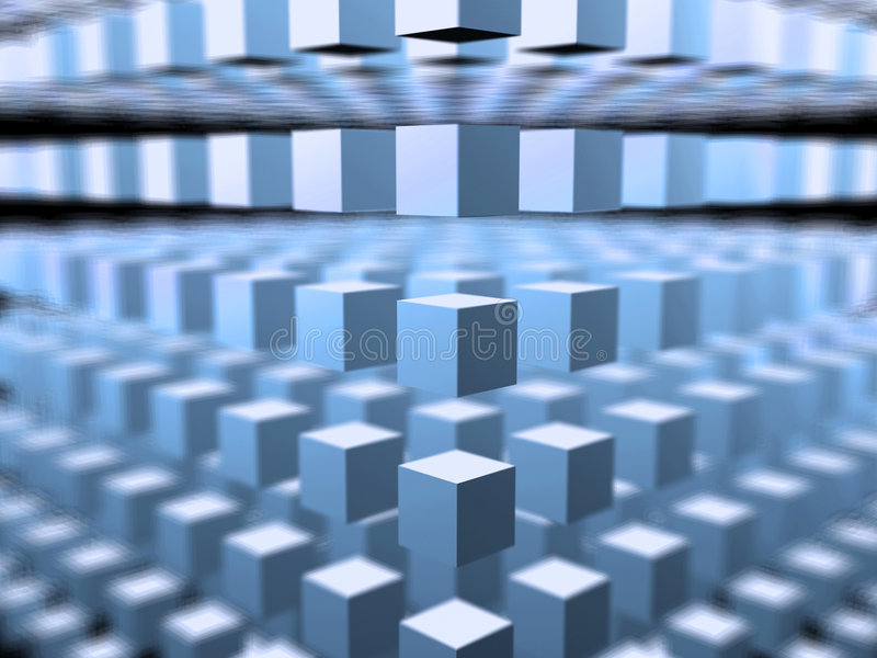 Cube 3D space -abstract background. Abstract cube. 3D space concept. Rendered 3D cube royalty free illustration