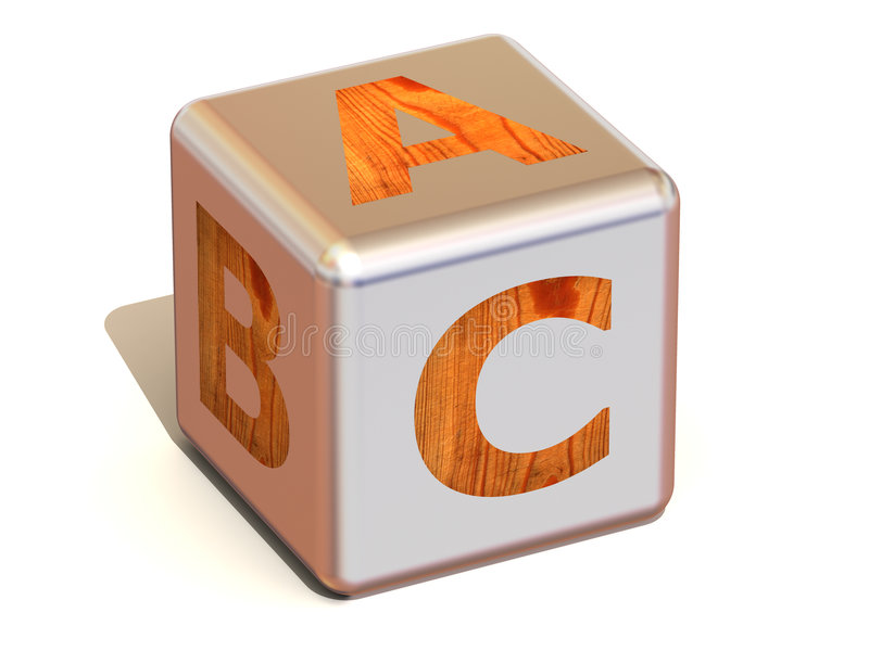 Cube with ABC. Alphabet royalty free illustration