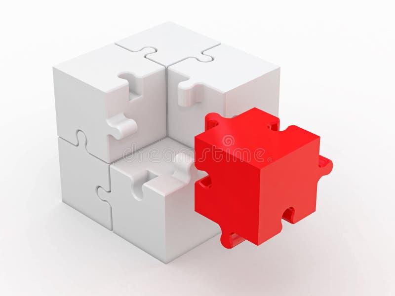 Cube abstrait de puzzle sur le fond blanc illustration libre de droits