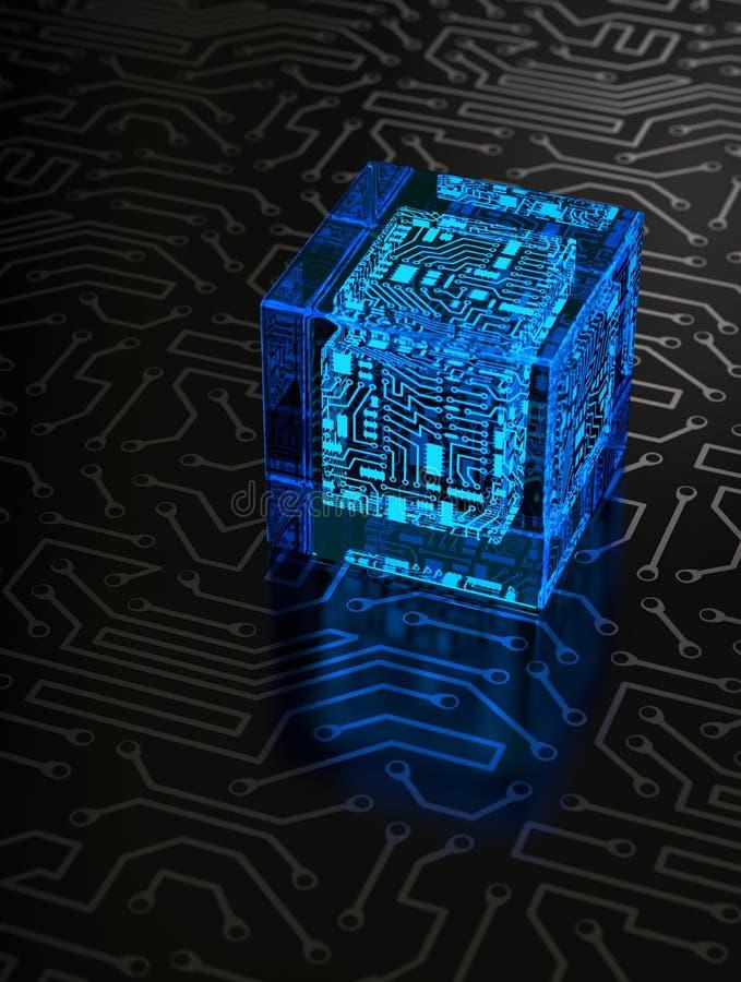 Cube abstrait en circuit image stock