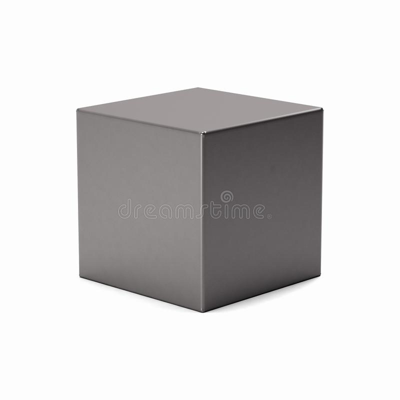 Cube argenté d'isolement sur le fond blanc l'illustration 3d rendent illustration stock