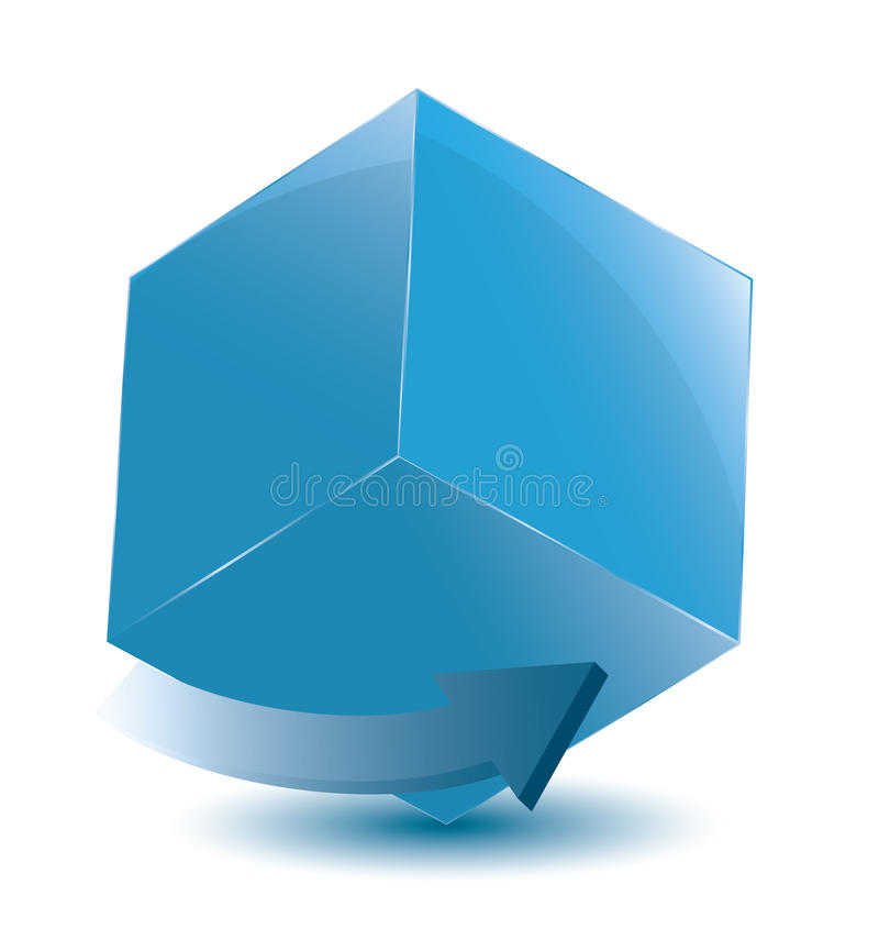 Cube with arrow royalty free stock photography