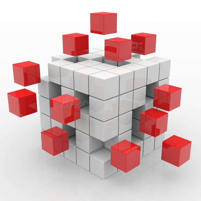 Download Cube Assembling From Blocks Stock Illustration - Illustration of silver, isolated: 20980620
