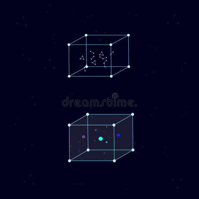 Cube au néon avec des atomes et des molécules à l'intérieur illustration de vecteur