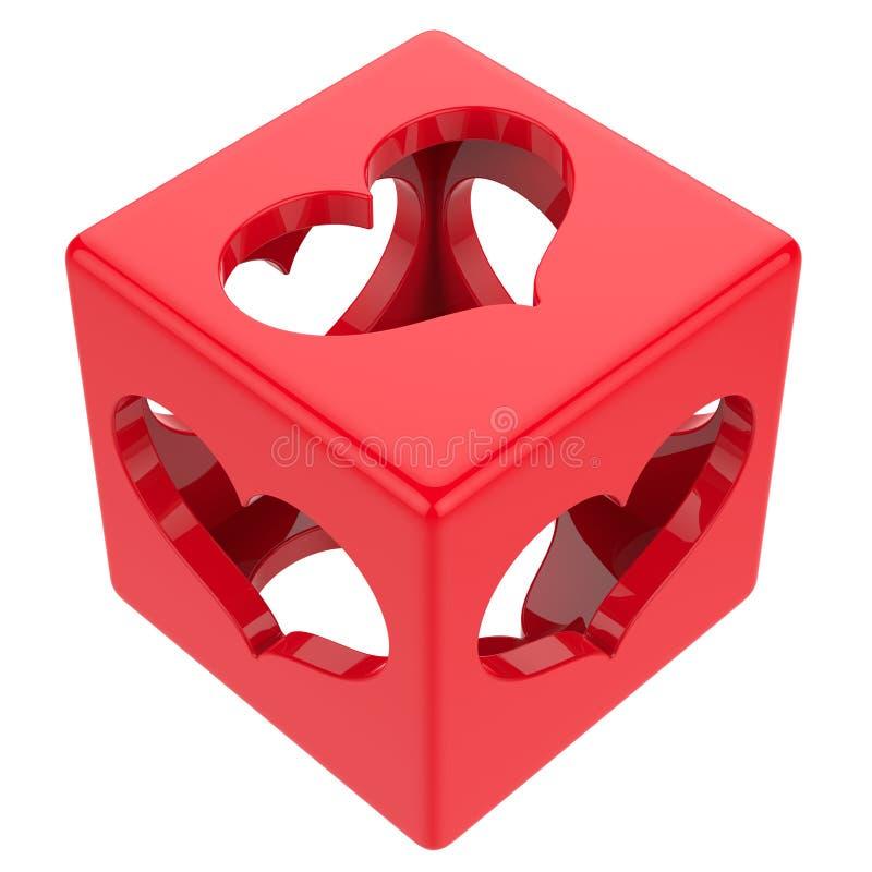 Cube avec des coeurs illustration stock