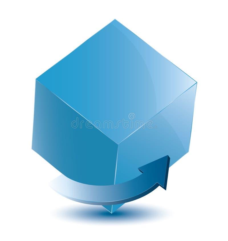 Cube avec la flèche photo stock