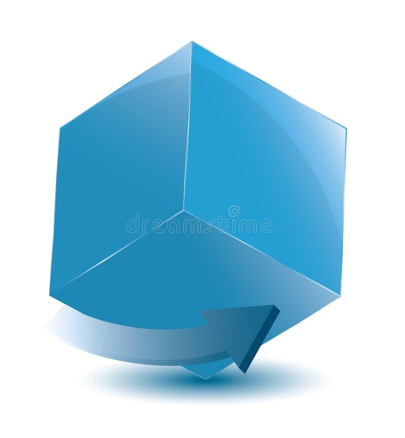 Cube avec la flèche photographie stock libre de droits