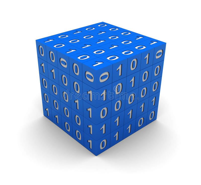 Cube avec le code binaire illustration de vecteur