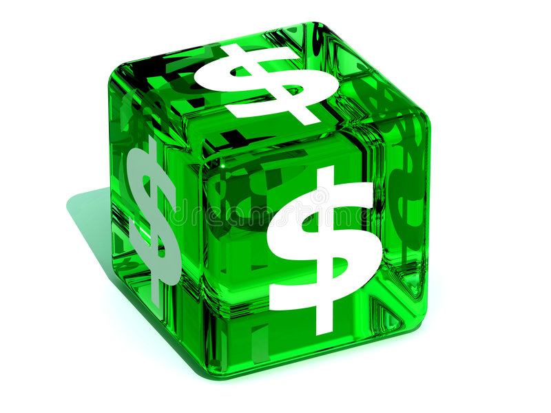 Cube avec le dollar illustration stock