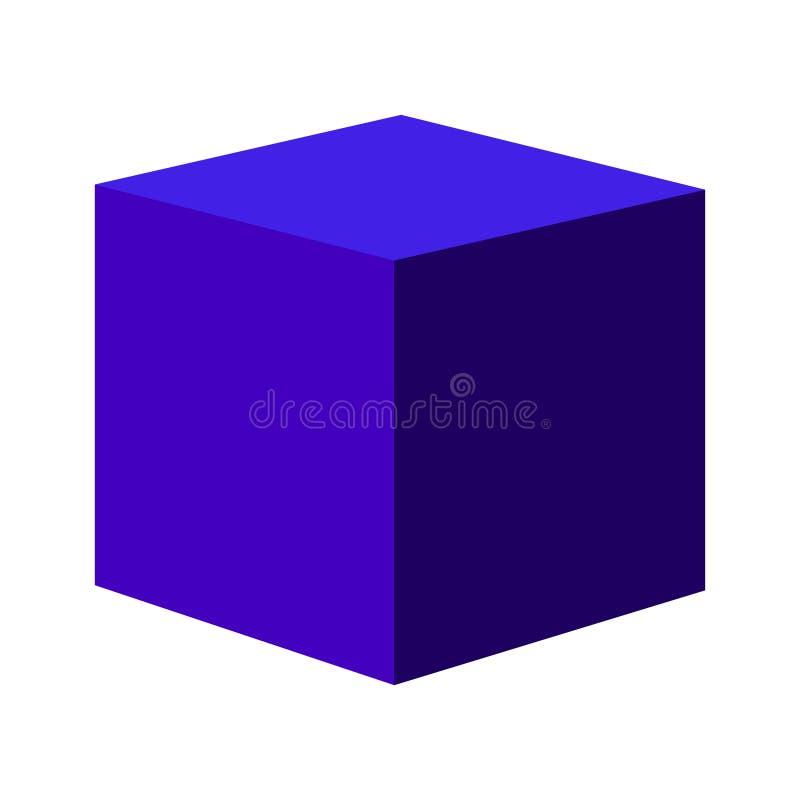 Cube bleu en vecteur de gradient Illustration d'actions d'icône de vecteur illustration de vecteur