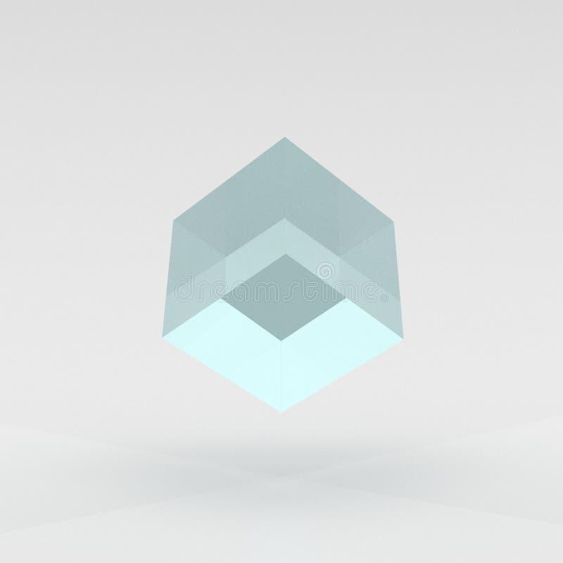 Cube bleu et lucide faisant de la lévitation au-dessus de la terre - illustration 3D illustration libre de droits