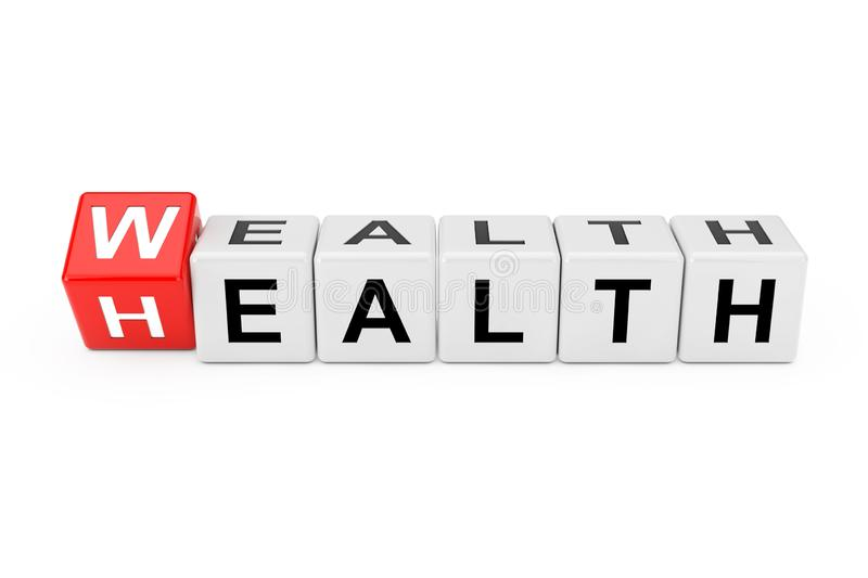 Cube Blocks with the Transition from Health to Wealth Word. 3d Rendering. Cube Blocks with the Transition from Health to Wealth Word on a white background. 3d stock photos