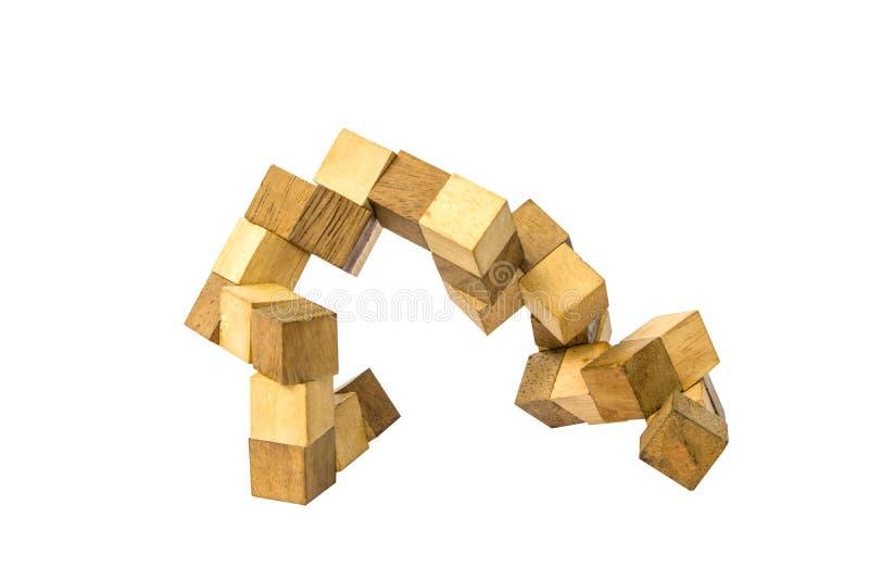 Cube blocos de madeira do enigma para aumentar habilidades e aprendizagem fotos de stock