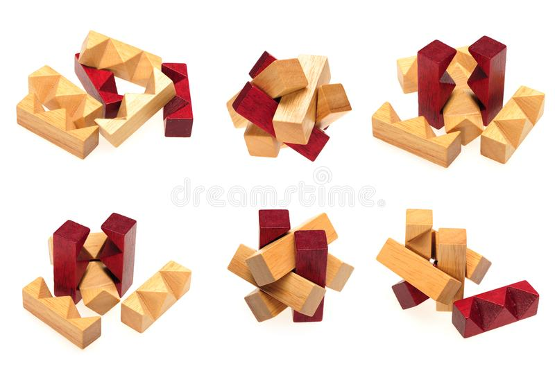 Cube blocos de madeira do enigma para aumentar habilidades e aprendizagem imagem de stock