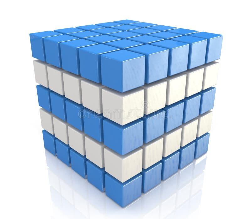 Cube blue white royalty free stock photo