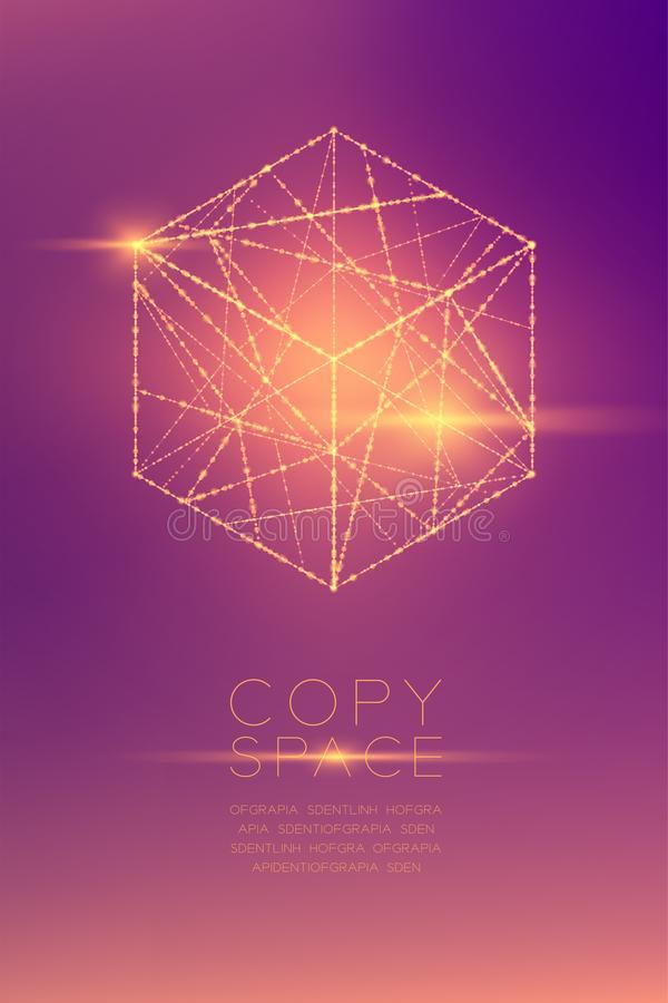 Cube box isometric wireframe polygon bokeh light frame structure and lens flare, Blockchain cryptocurrency concept design illustra vector illustration