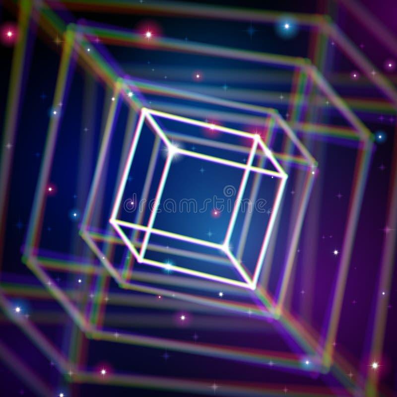Cube brillant avec des aberrations de couleur dans l'espace illustration libre de droits