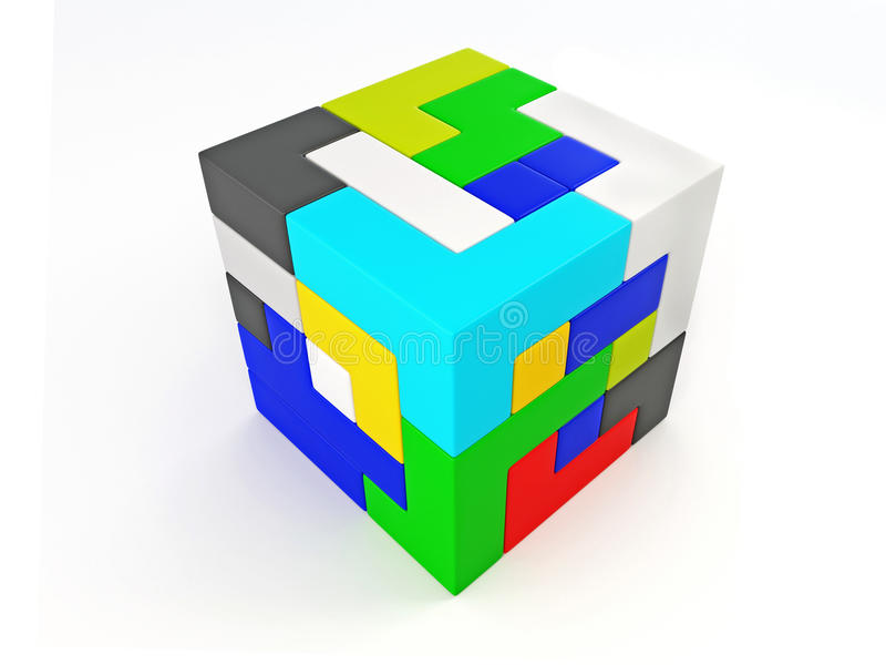 Download A Cube Built From Blocks. Puzzle Stock Illustration - Image: 14628078